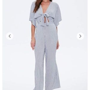 🆕 FOREVER 21 Pinstriped Knotted Cutout Jumpsuit